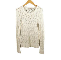 LOFT Womens Sweater Size Small Knit Cream Wool Blend Crewneck