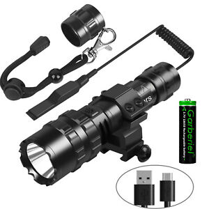 Tactical 9000Lumen L2 LED Gun Flashlight Picatinny Rail Mount Switch for Hunting
