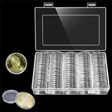 100* 30mm Coin Cases Capsules Holder Applied Clear Plastic Round Storage Box