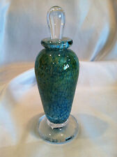 Vintage John Helkman? Heavy Glass Perfume Bottle & Stopper Blu/Grn Swirl Signed