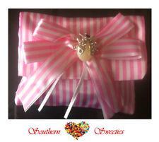 6 X PINK & WHITE STRIPED POUCH GIRLS FAVOUR LOLLIES CANDY BONBONIERE BAG PARTY