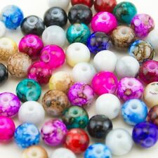 100pcs Wholesale Mix Artistic Marble Design Lampwork Glass Round Beads 8mm