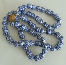 Vintage CHINESE PORCELAIN BEADS NECKLACE.WHITE/BLUE.GILT SILVER FILIGREE CLASP
