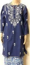 Indian cotton Top  kurti Lacknavi Hand Embroidery Kurta Tunic Beach Cover up