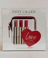 New Estee Lauder 3 Pure Color Love Lipsticks w/ Bag and Mirror FACTORY SEALED