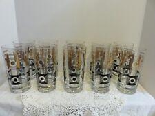 Vintage Mid-Century Modern Bar Glasses/Tumblers Black & Gold Set Of 10