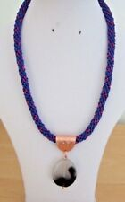 "An Agate Pendant on Blue/Red/Purple Kumihimo 21"" Cord with Toggle Clasp"
