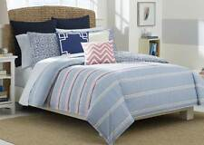 Nautica Destin  3pc Comforter Set FULL QUEEN Stripe Blue Pink White  NEW Beach