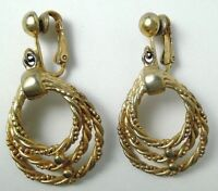 "vintage Sarah Coventry earrings dangle 3 gold tone ropes clip on 1.5"" clipon"