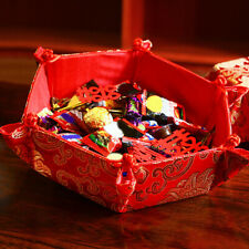 New listing Hn- Hexagonal Red Brocade Snacks Storage Tray Candy Dried Fruit Box for Home Sho