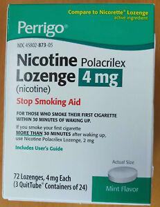 1 Box PERRIGO NICOTINE POLACRILEX LOZENGE STOP SMOKING AID 4mg MINT FLAVOR 72ct
