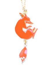 Gold tone orange enamel fox pendant necklace