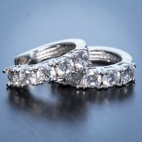 Mens Womens Small White Gold Plated 925 Sterling Silver CZ Hoop Earrings