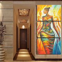 AM_ AM_ 3 PCS ABSTRACT AFRICAN WOMEN CANVAS WALL PAINTING POSTER ART HOME DECOR
