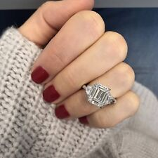 3.00Ct White Emerald Cut Diamond Certified 14K Gold Affectionate Engagement Ring