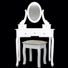 Home White Dressing Table With Mirror and Stool Make-up Dresser Set And Stool