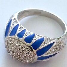 AMAZING 925 STERLING SILVER BLUE ENAMEL/ZIRCON RING, SIZE-R (9)