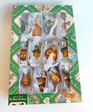 Old World Christmas Box of 12 Glittered Glass Halloween Ornaments 2003 MIB
