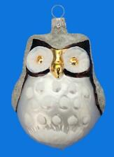 Lrg BROWN BARN OWL WHITE FROST GERMAN BLOWN GLASS CHRISTMAS TREE BIRD ORNAMENT