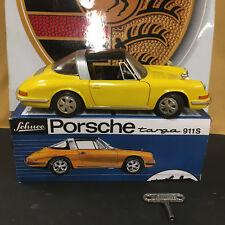 SCHUCO 1081 PORSCHE TARGA 911S CLOCKWORK MODEL CAR W/ORIGINAL KEY & REPRO BOX.