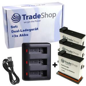 3-fach USB-LADEGERÄT + 3x AKKU für DJI Osmo Action Kamera AB1, P01