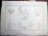 1845 GRANDE CARTA CON PIANTA DI CITTA' ETRUSCHE: SATURNIA CORTONA VOLTERRA......