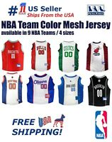 NBA Pet Jersey - 9 Licensed Basketball Teams, 4 sizes. Mesh/Satin Dog/Cat Outfit