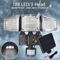 Adjustable 3-Head Super Bright 10000lm 188LED Solar Outdoor Security Floodlight