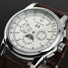 Brown Leather Mechanical Automatic Watch Band Chronograph Three Eyes