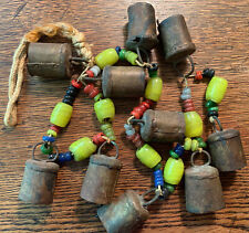 Primitive Vintage Bells Glass Beads Yellow Swirl Sarna India African Wind Chime
