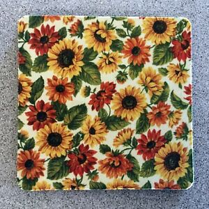 """Drink Coasters 4"""", Set of 4 SUNFLOWERS Fabric Coaster Black Rubber Back"""
