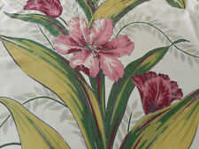 Antique Vintage Tulip Floral Faille Fabric ~ Rose Wine Chartreuse Green Gray