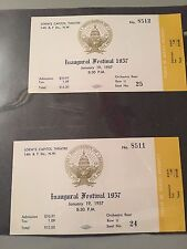 Lot of 2 Tickets, 1957 Inaugural Festival, Eisenhower, Ike, Nixon, VIP, Loew's