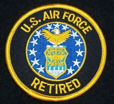 """UNITED STATES  AIR FORCE  """"RETIRED"""" Patch 3"""" Patch Round with Gold Letters"""