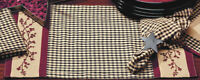 Placemats Set of 4 Berry Red Black Tan Gingham Check Primitive Kitchen