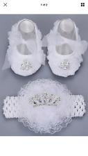 BABY INFANT CHRISTENING DIAMOND SHOE SET  PRINCESS  White HAIRBAND Shoe Set