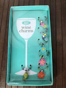 6 Boston Warehouse Wine Charms - Flamingo & Friend Toucan Fish Hibiscus Flower
