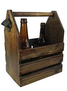 Bierträger Flaschenträger aus Holz für 6 Flaschen mit Flaschenöffner, Geschenk