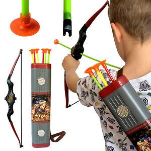 Bogenschießen Kinder Pfeil und Bogen Spielzeug Spiele Set Köcher Pfeile Saugnapf
