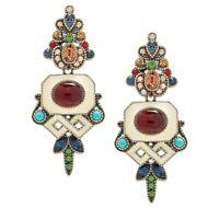 Heidi Daus Stunningly Shelly Art Deco Earrings - Pierced - Carnelian