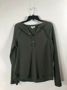 Umgee Women's Long Sleeve Henley Thermal Top Olive Green Small