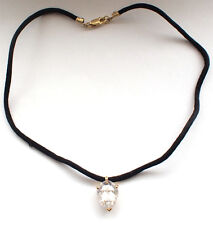 925 Sterling Silver Black String Large Clear White Gem Gold Plated Necklace