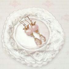 Pink Rose Quartz x Gold Sacred Heart Earrings Crown Retro Tattoo Crystal healing