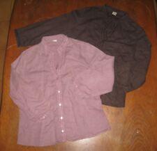Camaieu - lot de 3 Chemisiers - lin et coton - marron, rose pâle et mauve - 42