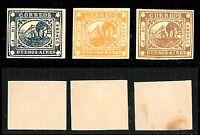 Argentina - 1859 - Buenos Aires - 3 valori su cartoncino non dentellato