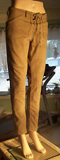 "H&M DIVIDED Skinny Pant SIZE 12 Lt Brown Stretchy Side Zip Waist 34"" Inseam 28"""