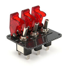 1 Pcs x 3 ABS+Aluminum  Brand New Red Toggle Switch Button Panel  Red LED light
