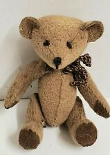 "Antique Jointed TEDDY BEAR Plush 2 3/4"" Miniature Steiff? Vtg Doll House Size"