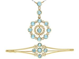 Antique 4.42 Ct Aquamarine and Pearl 15k Yellow Gold Pendant and Brooch Set