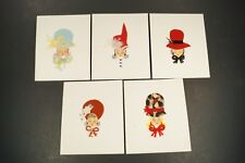 Handmade Note Cards Stationery Ladies with Fabric Hats and Felt Faces UNIQUE